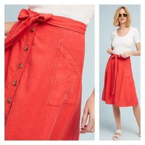 Maeve orange linen button from skirt size:6